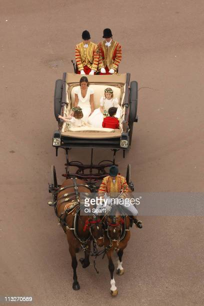 Maid of Honour Pippa Middleton with bridemaids and pageboys make the journey by carriage procession to Buckingham Palace following the marriage of...