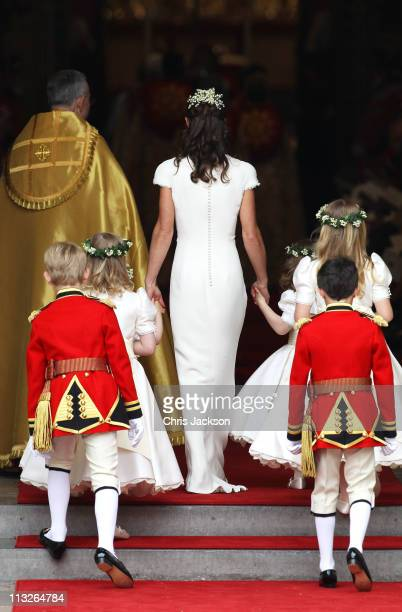 Maid of Honour Pippa Middleton with pageboys and bridemaids arrive to attend the Royal Wedding of Prince William to Catherine Middleton at...