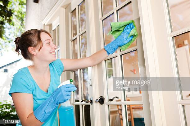Maid Spring Cleaning Service, Washing Home Windows, Doing Housework Chores
