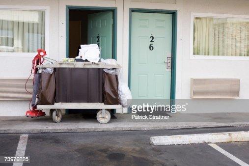 Maid trolley outside a motel