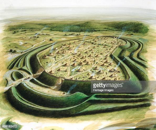 Maiden Castle c5th century BC Aerial view reconstruction drawing of Maiden Castle an Iron Age hill fort in the English county of Dorset In about 1800...