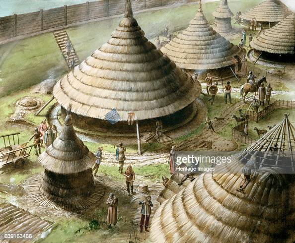 Maiden Castle c5th century BC Reconstruction drawing showing Iron Age round houses at Maiden Castle an Iron Age hill fort in the English county of...