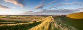 The late evening sunshine rakes across the Iron Age hill fort of Maiden Castle in Dorset, England. Dorchester, the County Town of Dorset, is visible on the horizon.