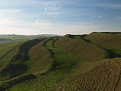 The Iron age Hillfort Maiden Castle, Dorset. the largest in Europe.