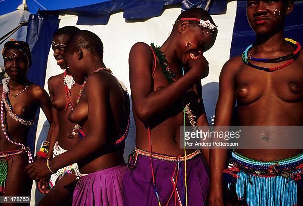 Maidens pose for a photo during the annual Reed Dance on September 11 2004 in Nongoma in rural Natal South Africa About 20000 maidens from all over...