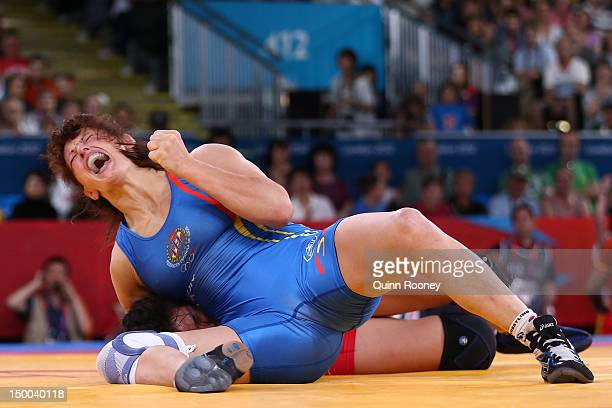 Maider Unda Gonzalez De Audicana of Spain celebrates defeating Burmaa Ochirbat of Mongolia in the Women's Freestyle 72 kg Wrestling on Day 13 of the...
