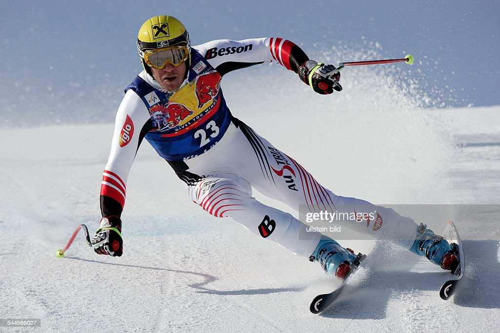 Maier, Hermann - Skier, Alpine Skiing, Austria - competing during downhill training session in Kitzbuehel
