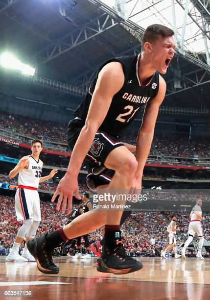 Maik Kotsar of the South Carolina Gamecocks reacts after a play in the second half against the Gonzaga Bulldogs during the 2017 NCAA Men's Final Four...