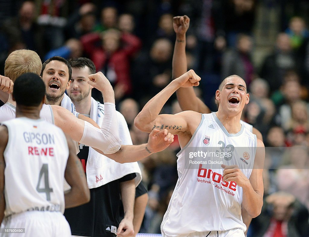 Maik Zirbes, #33 of Brose Baskets Bamberg reacts during the 2012-2013 Turkish Airlines Euroleague Regular Season Game Day 9 between Lietuvos Rytas Vilnius v Brose Baskets Bamberg at Siemens Arena on December 7, 2012 in Vilnius, Lithuania.
