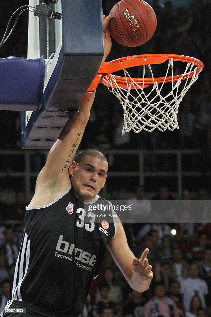 #33 Maik Zirbes of Brose Baskets Bamberg in action during the 2012-2013 Turkish Airlines Euroleague Regular Season Game Day 7 between Besiktas JK Istanbul v Brose Baskets Bamberg at Abdi Ipekci Arena on November 23, 2012 in Istanbul, Turkey.