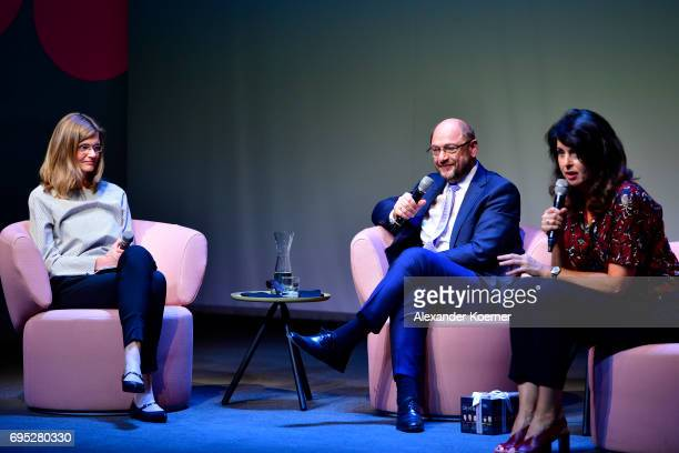 Maike Dinklage Martin Schulz and Brigitte Huber speak on stage during the Brigitte Live talk at Maxim Gorki Theater on June 12 2017 in Berlin Germany