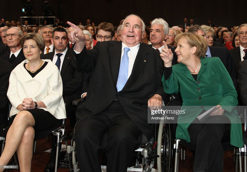 Maike Kohl-Richter, former German Chancellor Helmut Kohl and German Chancellor Angela Merkel smile during an official birthday reception to former German Chancellor Helmut Kohl at the Pfalzbau on May 5, 2010 in Ludwigshafen, Germany. Kohl celebrated his 80th birthday on April 3, 2010.