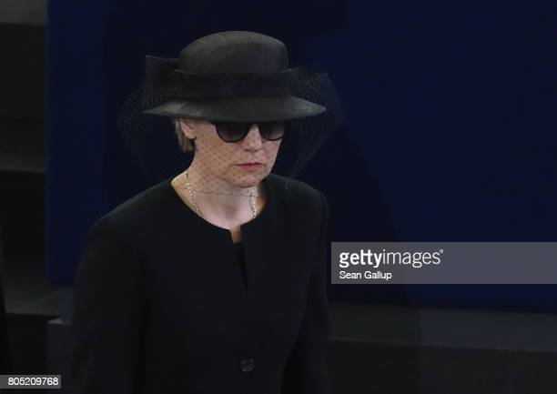 Maike KohlRichter the widow of former German Chancellor Helmut Kohl arrives for a memorial ceremony for Kohl at the European Parliament on July 1...