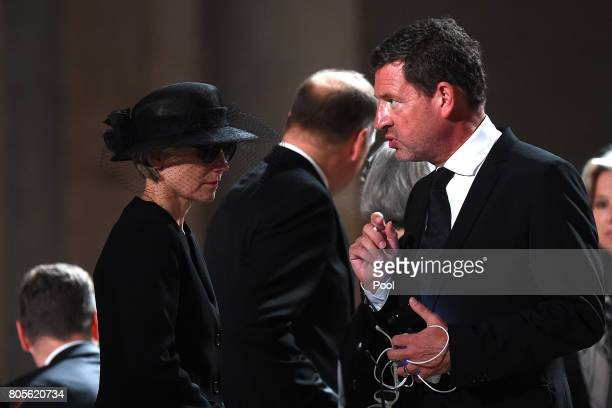 Maike KohlRichter the widow of former German Chancellor Helmut Kohl and journalist and family friend Kai Diekmann arrive for a requiem for Kohl at...