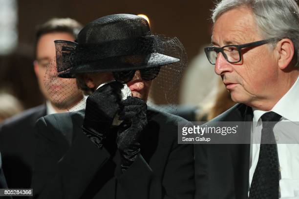 Maike KohlRichter the widow of Helmut Kohl and European Commission President JeanClaude Juncker attend a requiem for Kohl at the Speyer cathedral on...