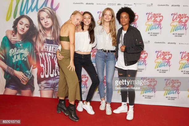 Maike Mohr of Chefboss actors Emily Kusche and Flora Li Thiemann and Alice Martin of Chefboss attend the 'Tigermilch' premiere at Kino in der...
