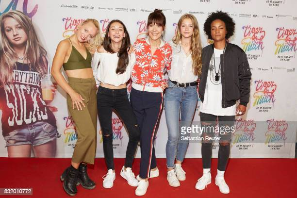 Maike Mohr of Chefboss actress Emily Kusche director Ute Wieland actress Flora Li Thiemann and Alice Martin of Chefboss attend the 'Tigermilch'...