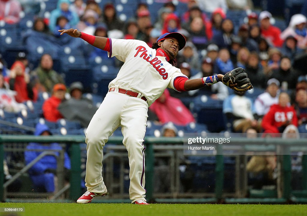 Maikel Franco #7 of the Philadelphia Phillies catches an infield fly in the fourth inning during a game against the Cleveland Indians at Citizens Bank Park on May 1, 2016 in Philadelphia, Pennsylvania. The Phillies won 2-1.
