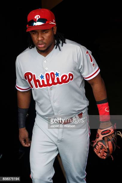 Maikel Franco of the Philadelphia Phillies enters the dugout before the game against the San Francisco Giants at ATT Park on August 20 2017 in San...