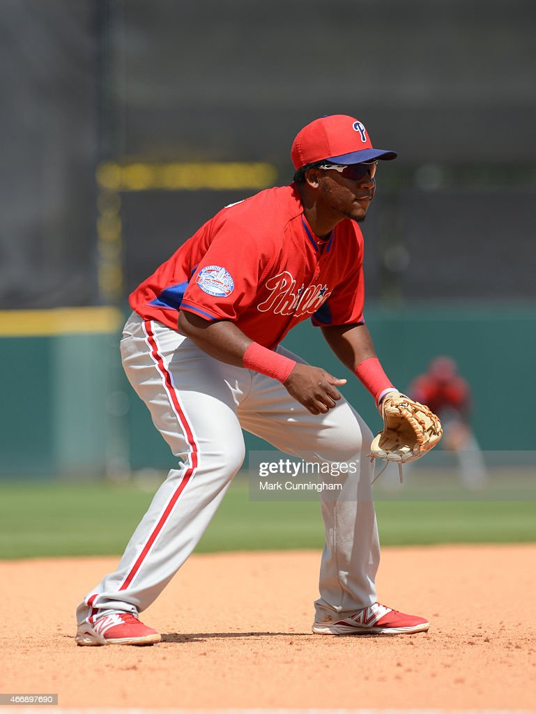 Maikel Franco #7 of the Philadelphia Phillies fields during the Spring Training game against the Detroit Tigers at Joker Marchant Stadium on March 14, 2015 in Lakeland, Florida. The Phillies defeated the Tigers 5-4.