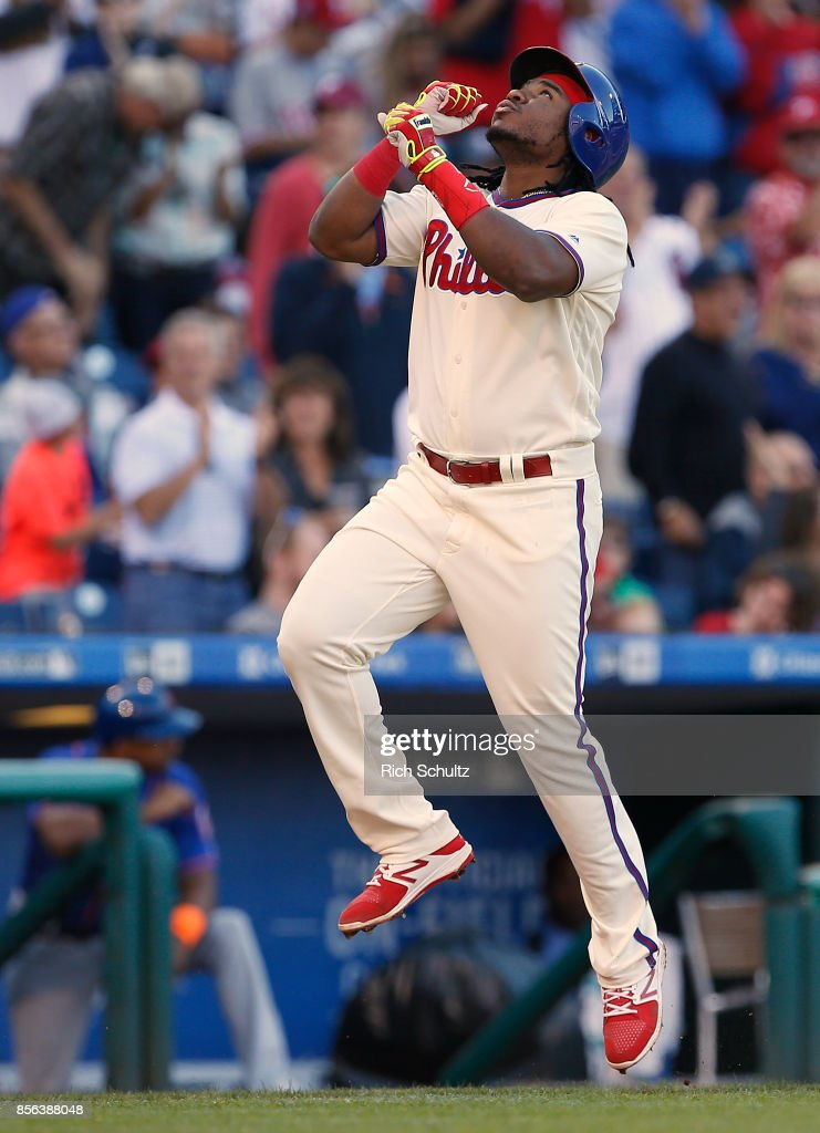 Maikel Franco #7 of the Philadelphia Phillies gestures after he hit a three-run home run against the New York Mets during the fourth inning of a game at Citizens Bank Park on October 1, 2017 in Philadelphia, Pennsylvania.
