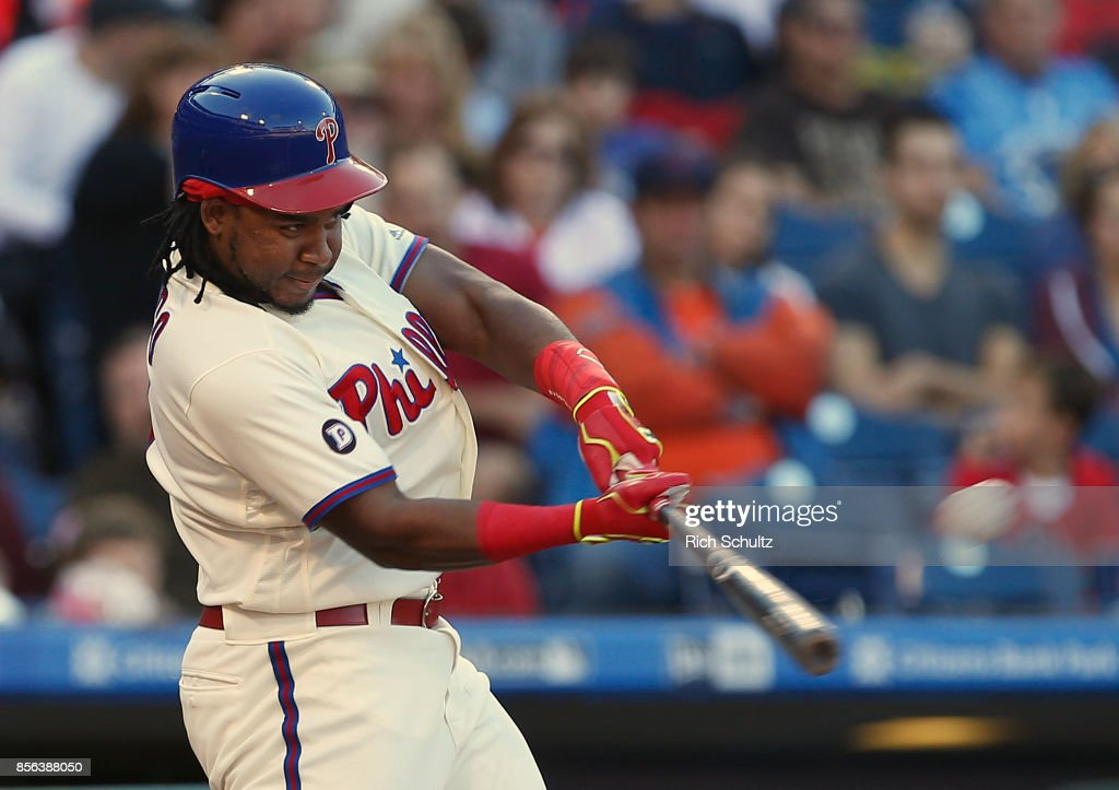 Maikel Franco #7 of the Philadelphia Phillies hits a three-run home run against the New York Mets during the fourth inning of a game at Citizens Bank Park on October 1, 2017 in Philadelphia, Pennsylvania.