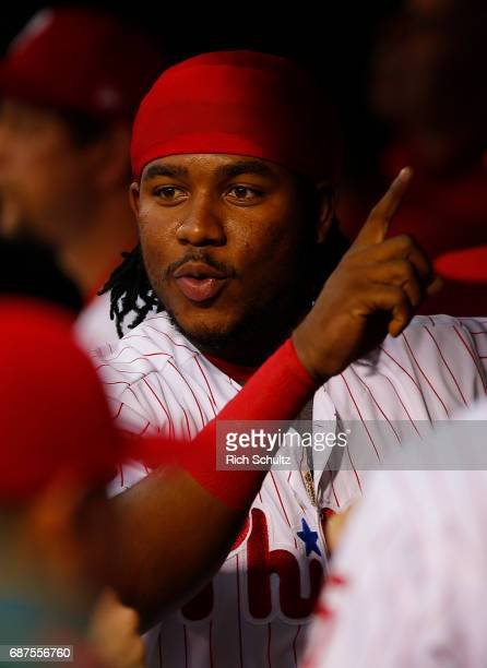 Maikel Franco of the Philadelphia Phillies in the dugout before a game against of the Colorado Rockies at Citizens Bank Park on May 22 2017 in...