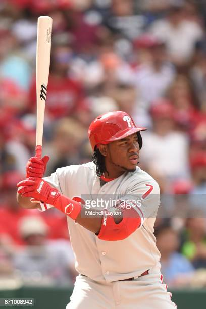 Maikel Franco of the Philadelphia Phillies prepares for a pitch during the game against the Washington Nationals at Nationals Park on April 16 2017...