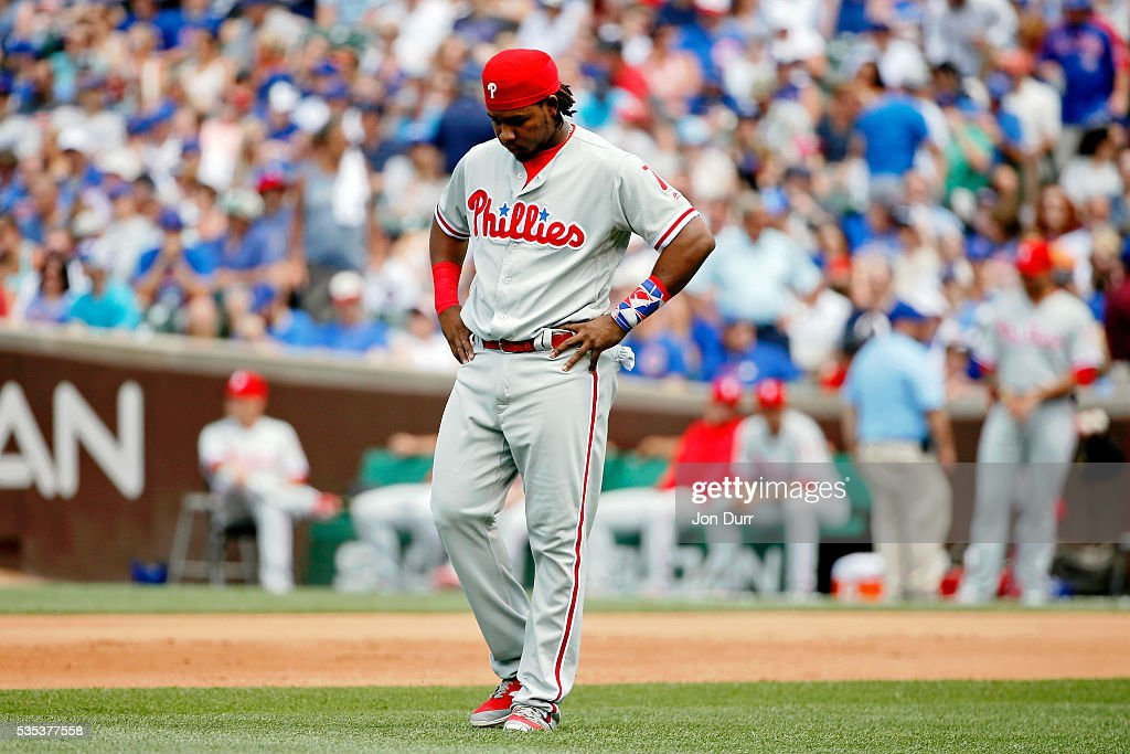 <a gi-track='captionPersonalityLinkClicked' href=/galleries/search?phrase=Maikel+Franco&family=editorial&specificpeople=11198645 ng-click='$event.stopPropagation()'>Maikel Franco</a> #7 of the Philadelphia Phillies reacts after being called out on a double play against the Chicago Cubs during the fourth inning at Wrigley Field on May 29, 2016 in Chicago, Illinois.