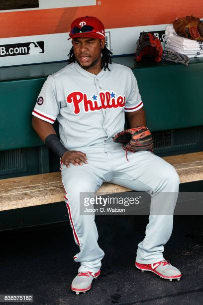 Maikel Franco of the Philadelphia Phillies sits in the dugout before the game against the San Francisco Giants at ATT Park on August 20 2017 in San...