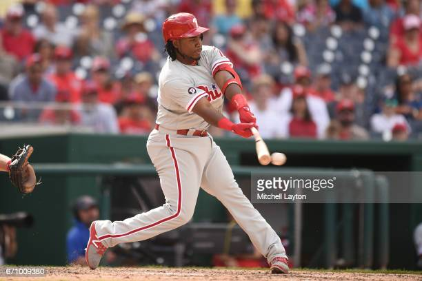 Maikel Franco of the Philadelphia Phillies takes a swing during the game against the Washington Nationals at Nationals Park on April 16 2017 in...