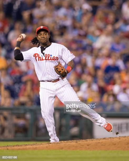 Maikel Franco of the Philadelphia Phillies throws out Michael Conforto of the New York Mets in the top of the ninth inning at Citizens Bank Park on...