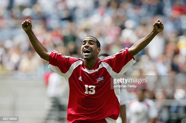 Maikel Galindo of Cuba celebrates a goal against Costa Rica during the preliminary rounds of the CONCACAF Gold Cup on July 9 2005 at Qwest Field in...