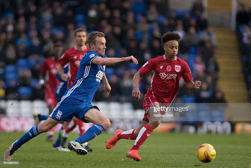 Maikel Kieftenbeld of Birmingham City and Bobby Reid of Bristol City in action during the Sky Bet Championship match between Birmingham City and Bristol City at St Andrews Stadium on November 19, 2016 in Birmingham, England.