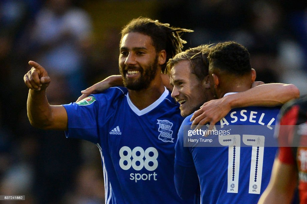 Maikel Kieftenbeld of Birmingham City (C) celebrates scoring his sides first goal with his team mates during the Carabao Cup Second Round match between Birmingham City and AFC Bournemouth at St Andrews (stadium) on August 22, 2017 in Birmingham, England.