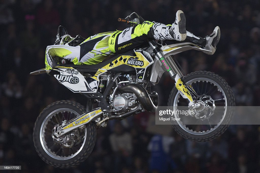 Maikel Melero competes in the Red Bull X-Fighters Moto Cross at plaza de toros Mexico on March 08, 2013 in Mexico City, Mexico.