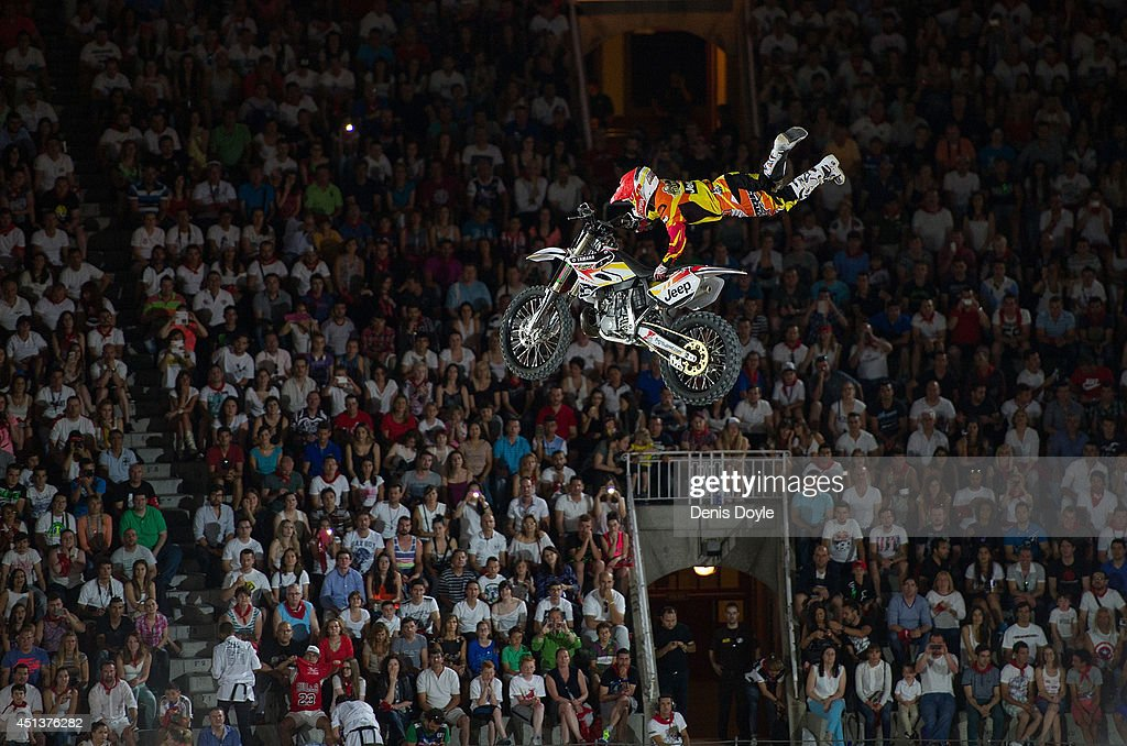 Maikel Melero in action during the Red Bull XFighters World Tour in Madrid's Plaza de Toros on June 27 2014 in Madrid Spain