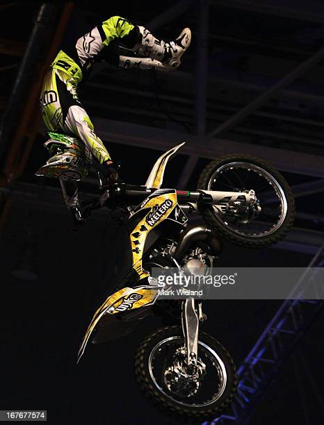 Maikel Melero of Spain competes during the Night of the Jumps freestyle motocross European Championship Series at Olympiahalle on March 27 2013 in...
