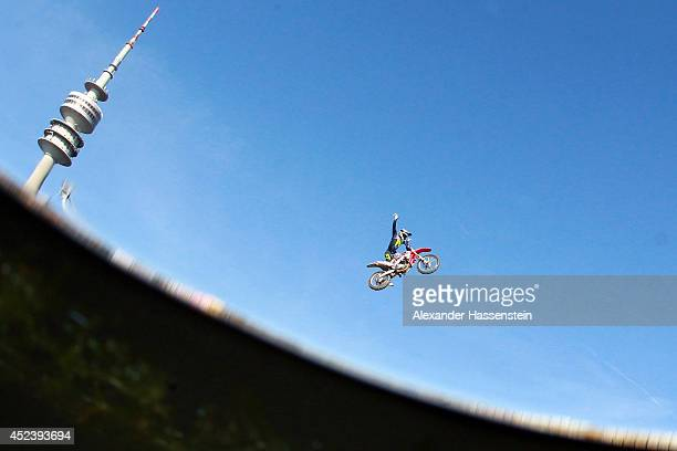 Maikel Melero of Spain competes during the Red Bull XFighters World Tour at the Munich Olympic Park on July 19 2014 in Munich Germany