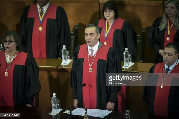 Maikel Moreno president of the Supreme Court stands during the annual reports presentation at the Supreme Court in Caracas Venezuela on Thursday...