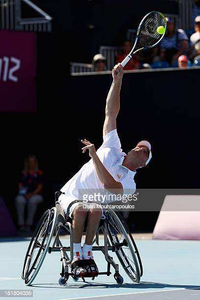 Maikel Scheffers of Netherlands in action against Ronald Vink of Netherlands in the Mens Wheelchair Bronze Medal match on day 10 of the London 2012...