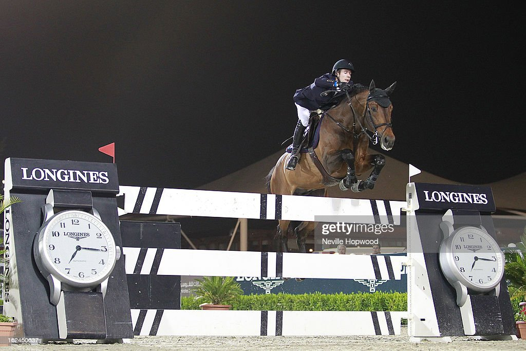 Maikel Van Der Vleauten of the Netherlands rides VDL Groep Verdi during the President of the UAE Showjumping Cup - Furusiyyah Nations Cup Series presented by Longines on February 23, 2013 in Al Ain, United Arab Emirates.