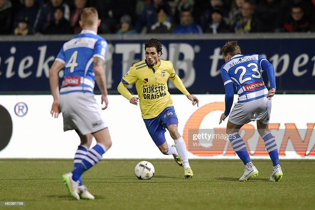 Maikel van der Werff Bartholomew Ogbeche Ben Rienstra during the Dutch Cup match between SC Cambuur Leeuwarden and PEC Zwolle at the Cambuur Stadium...