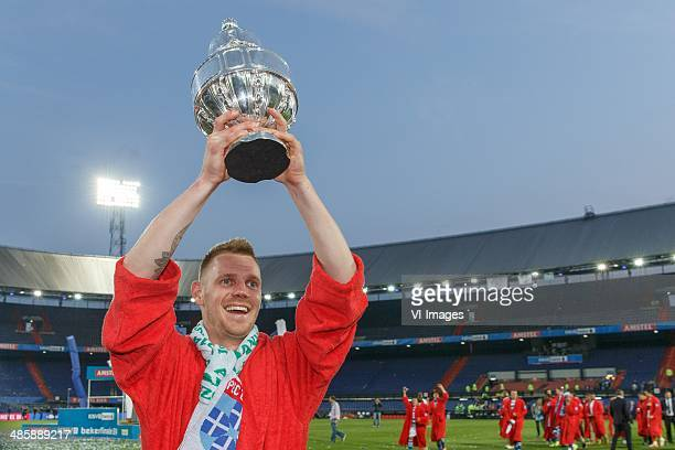 Maikel van der Werff of Pec Zwolle during the Dutch Cup final match between Pec Zwolle and Ajax Amsterdam on April 20 2014 at the Kuip stadium in...