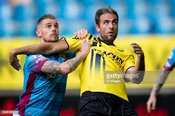 Maikel van der Werff of Vitesse Ralf Seuntjens of VVV during the Dutch Eredivisie match between Vitesse Arnhem and VVV Venlo at Gelredome on...