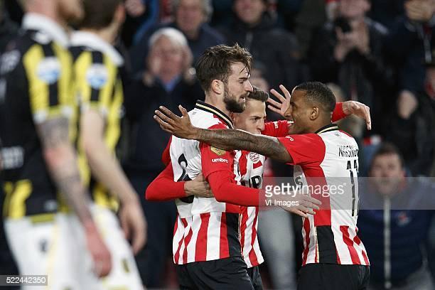 Maikel van der Werff of Vitesse Sheran Yeini of Vitesse Davy Propper of PSV Hector Moreno of PSV Luciano Narsingh of PSV during the Dutch Eredivisie...
