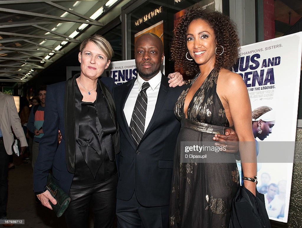 Maiken Baird, <a gi-track='captionPersonalityLinkClicked' href=/galleries/search?phrase=Wyclef+Jean&family=editorial&specificpeople=171115 ng-click='$event.stopPropagation()'>Wyclef Jean</a>, and Michelle Major attend the 'Venus And Serena' screening at IFC Center on May 2, 2013 in New York City.