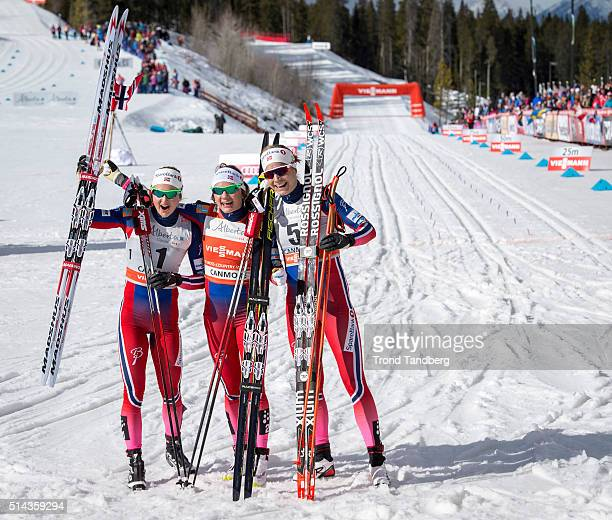 Maiken Caspersen Falla Astrid Uhrenholdt Jacobsen Ingvild Flugstad Oestberg celebrate victory during Cross Country Ladies 15 km Sprint Classic on...