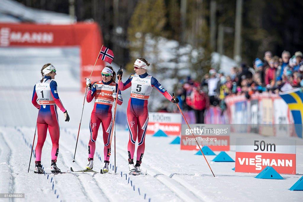 Maiken Caspersen Falla Astrid Uhrenholdt Jacobsen Ingvild Flugstad Oestberg celebrate victory during Cross Country Ladies 15 km Sprint Classic on...