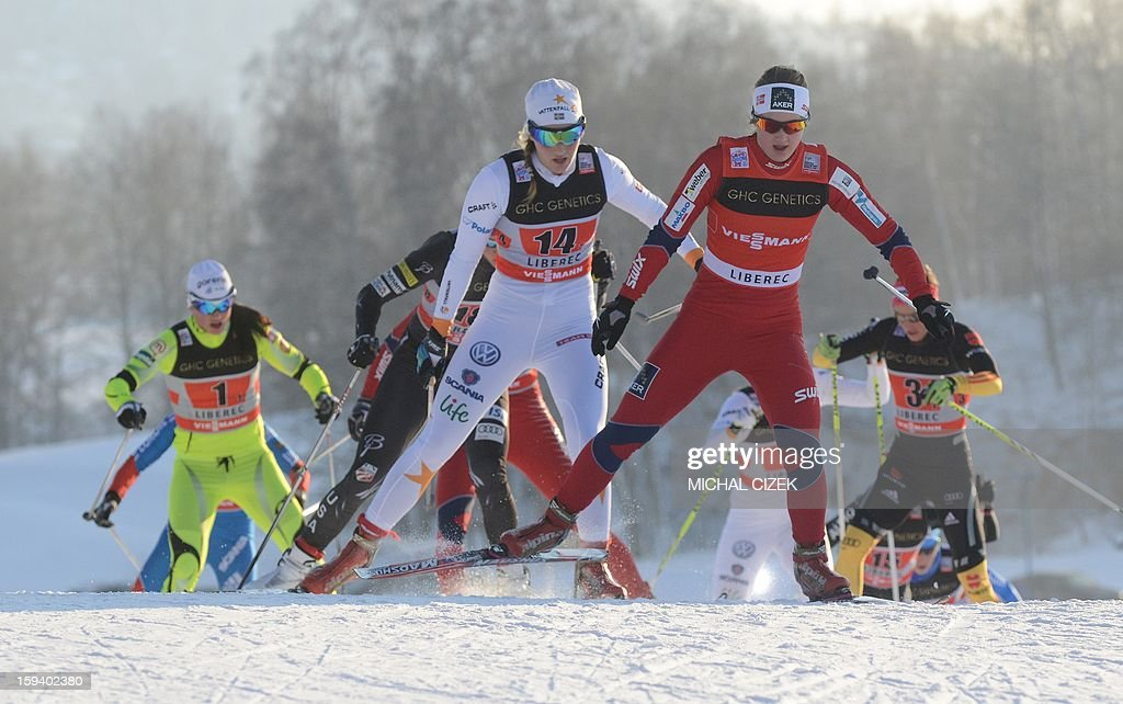Maiken Caspersen Falla of Norway 1 leads a pack during the women's 6 x 0,85 km Free sprint final of the FIS Cross-Country World Cup on January 13, 2013 in Liberec, Czech Republic. Ingvild Flugstad Oestberg and Maiken Caspersen Falla of Norway 1 won this event ahead Stina Nilsson and Ida Ingemarsdotter of Sweden 1 and Linn Soemskar and Magdalena Pajal of Sweden 2 took 3rd place. AFP PHOTO / MICHAL CIZEK